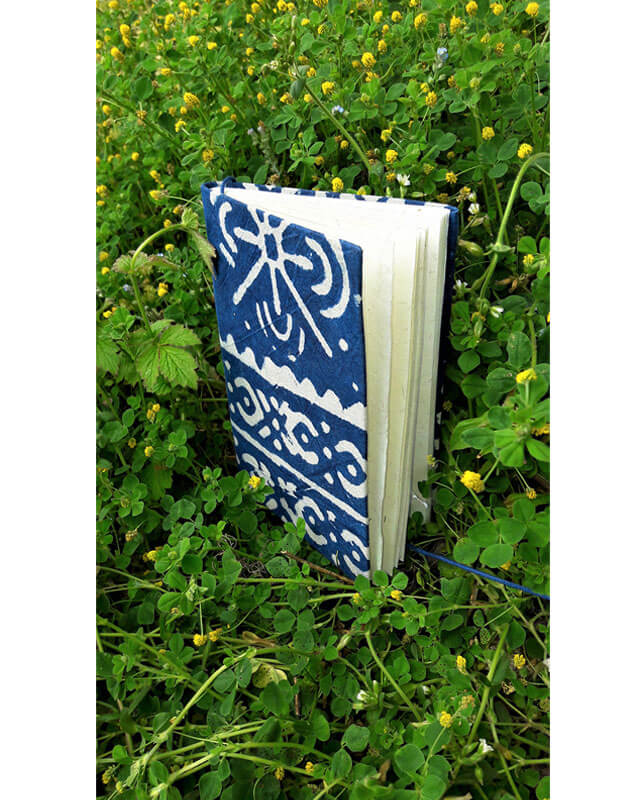 Indigo notebook, hemp & recycled cotton paper